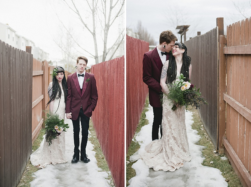 goth rock and roll bride groom portraits