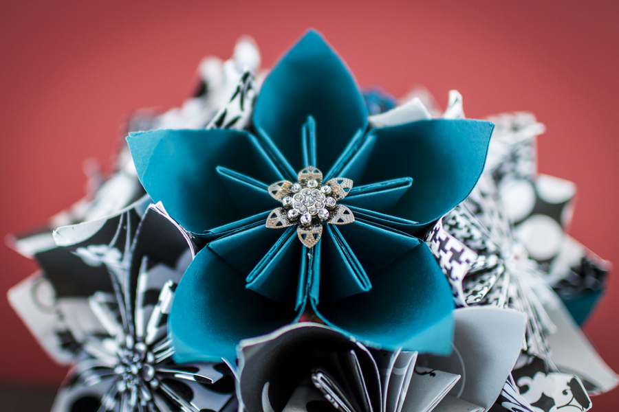 origami teal wedding bouquet