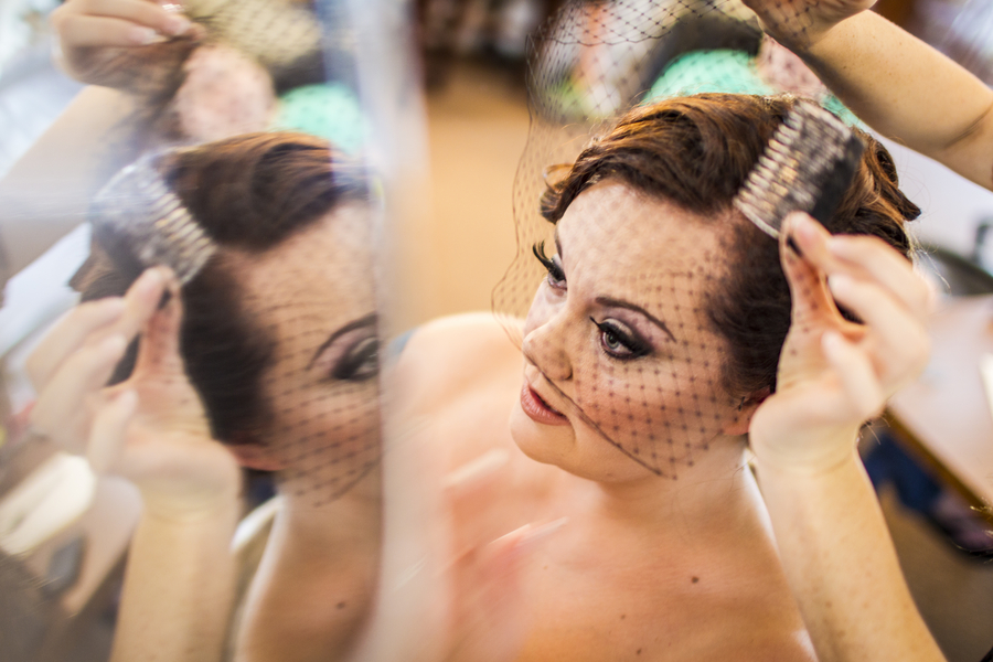 bride black birdcage veil