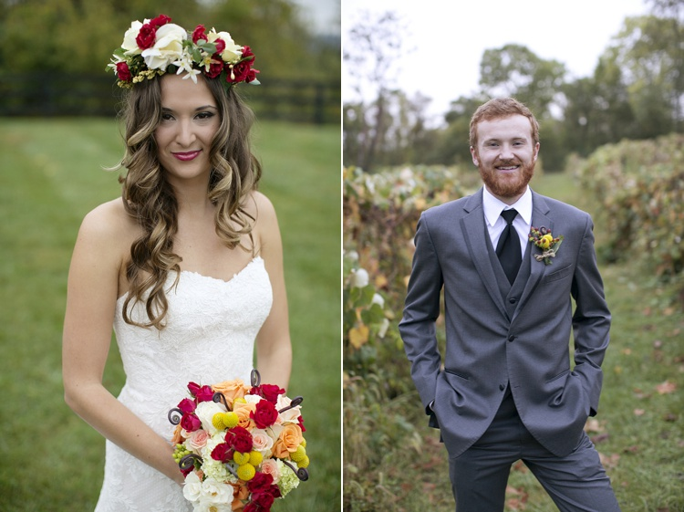 whimsical boho bride and groom