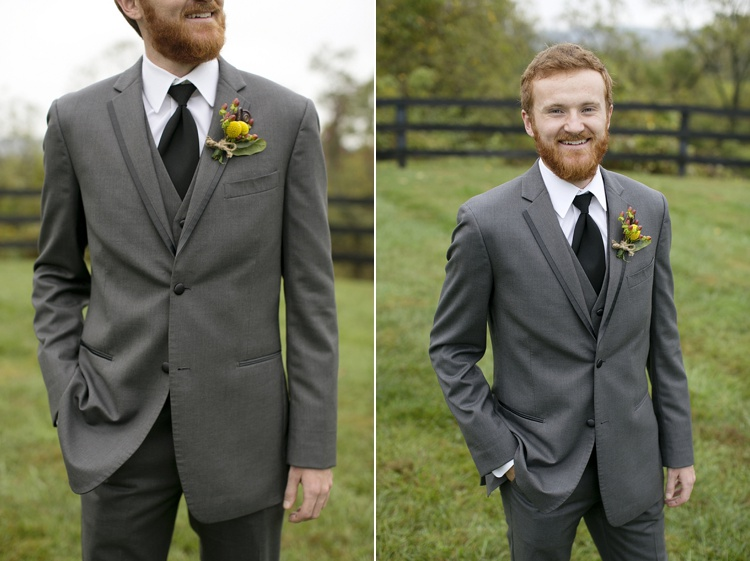 rustic groom grey suit