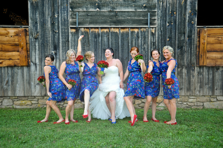 blue patterened bridesmaids dresses