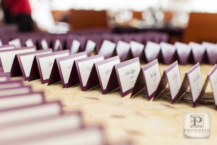 simple purple escort cards