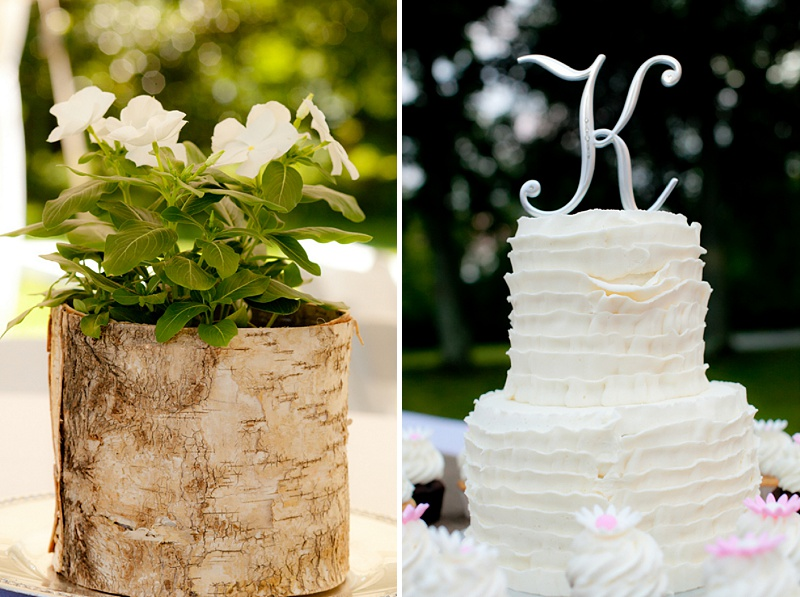 rustic backyard wedding cake flowers