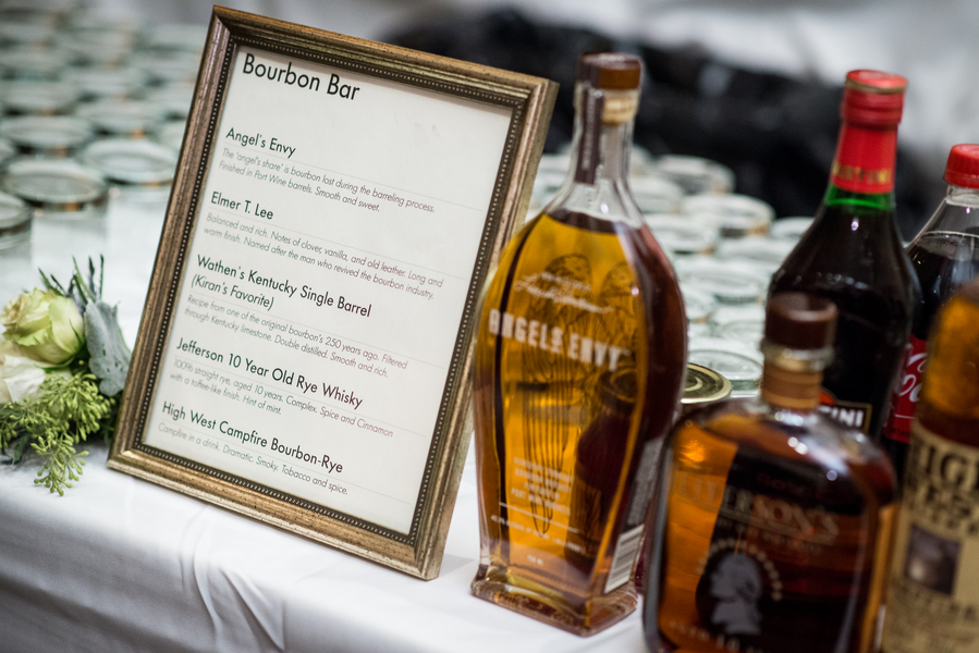 bourbon bar at wedding