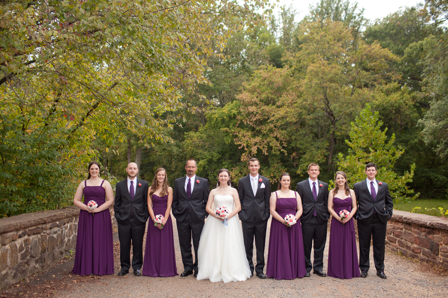 purple and charcoal wedding party