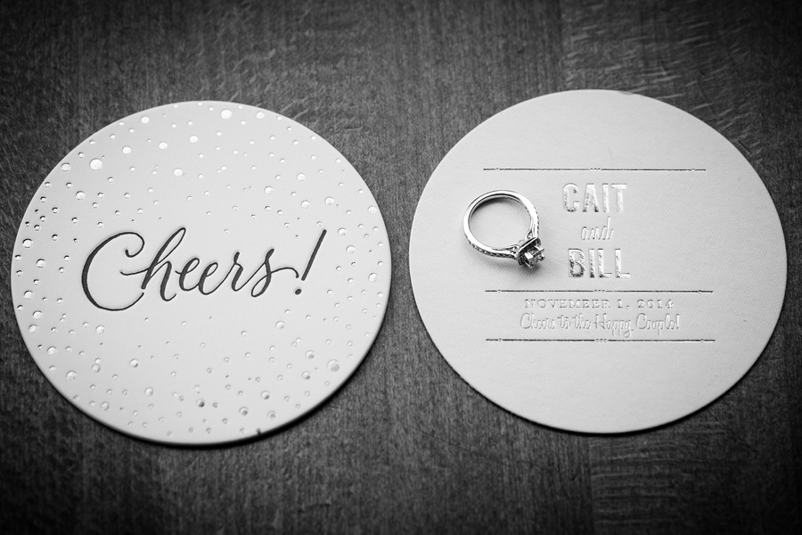 modern engagement ring save the date coasters