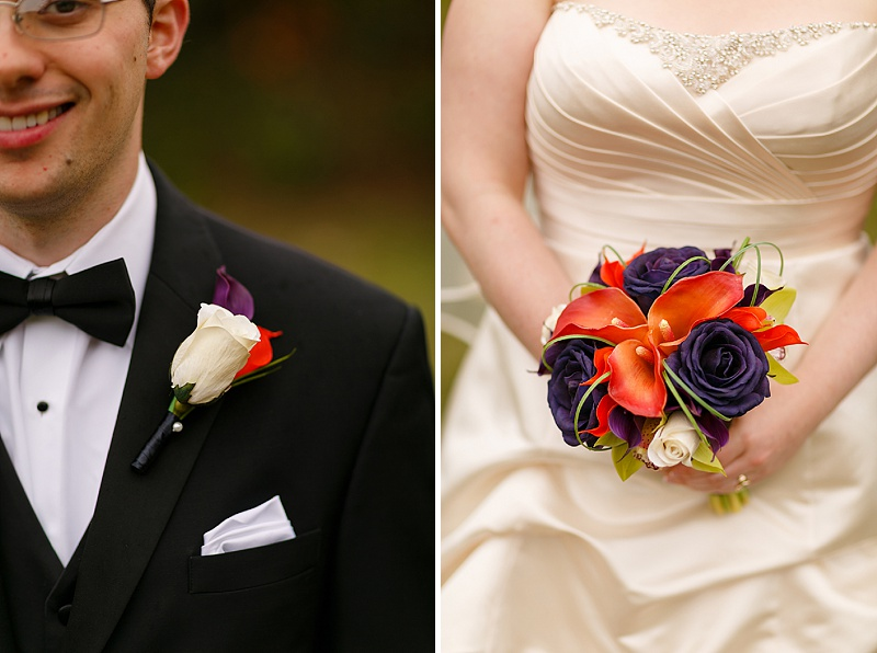 orange blue silk flower bouquets