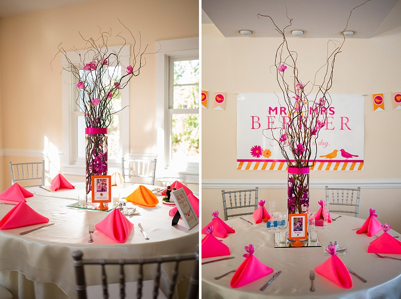 hot pink orange wedding tablescapes branch centerpieces