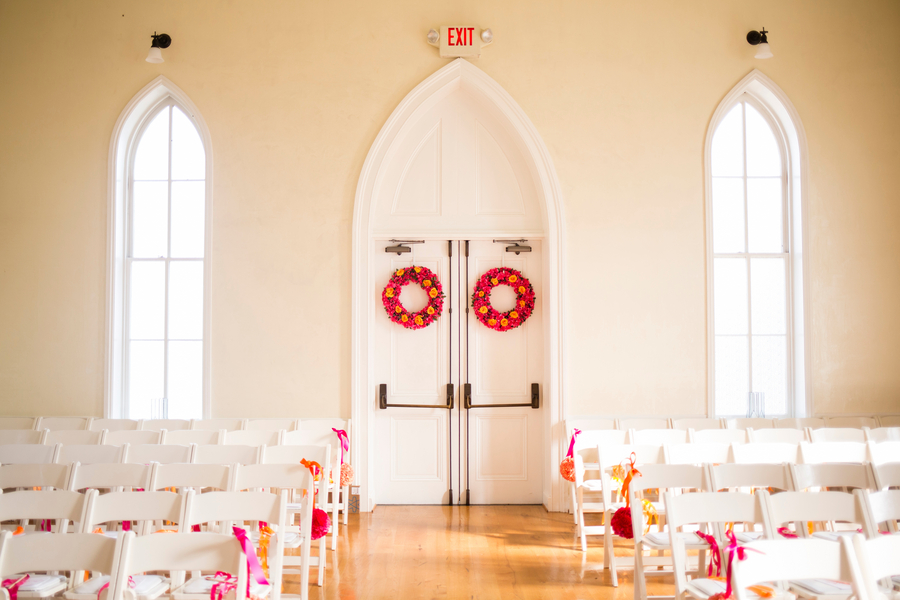 hot pink orange church decorations wedding