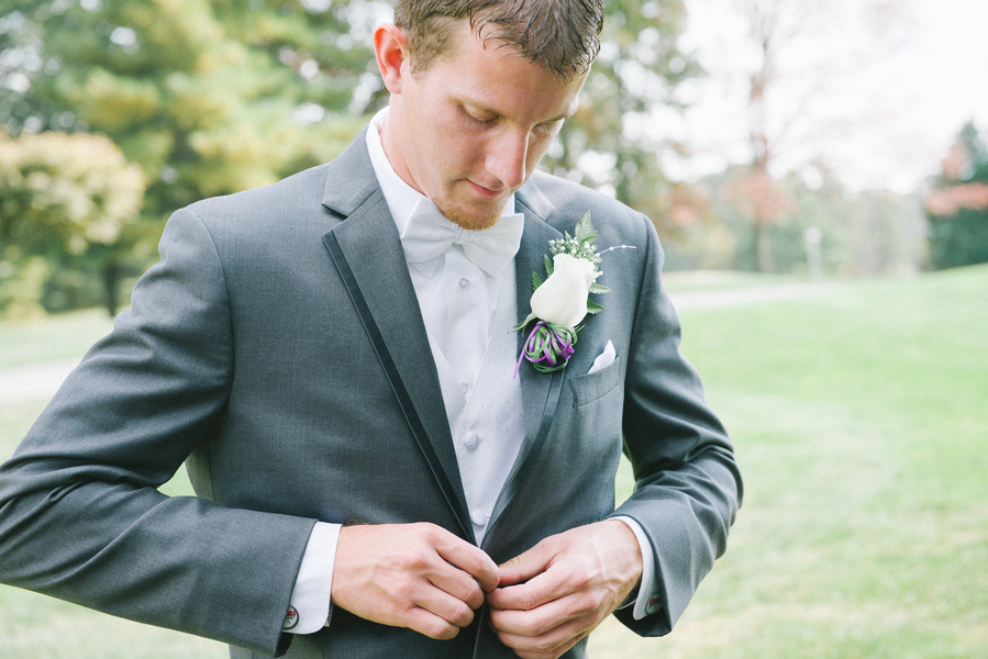 simple charcoal grey groomsmen suit