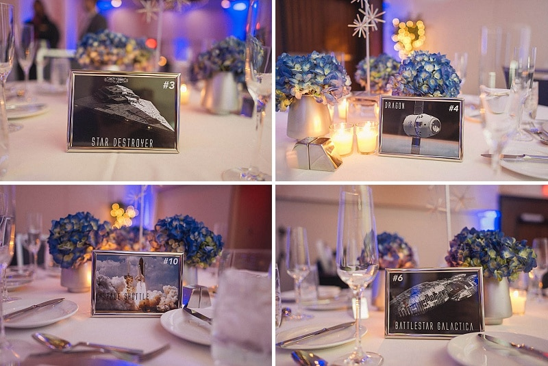space themed wedding table numbers