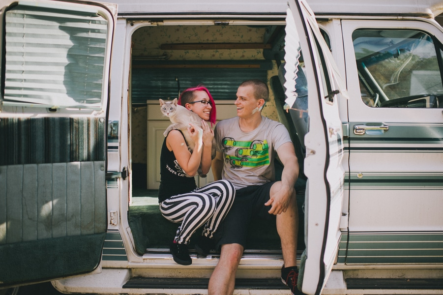 offbeat alternative engagement pictures vintage trailer (1)