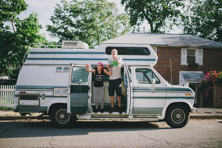 offbeat alternative engagement pictures vintage trailer (3)