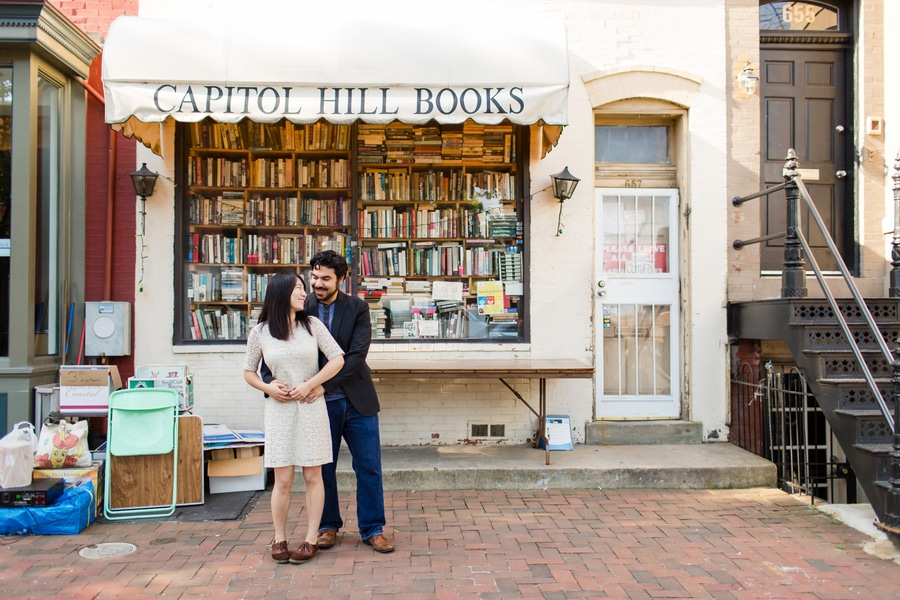 capitol hill bookstore washington dc engagement pictures (4)