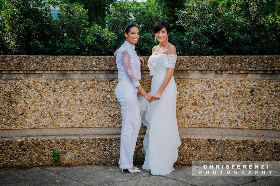 modern same sex lesbian bride white suit style gown (10)