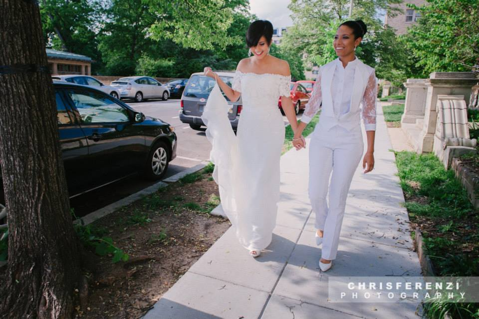 modern same sex lesbian bride white suit style gown (4)