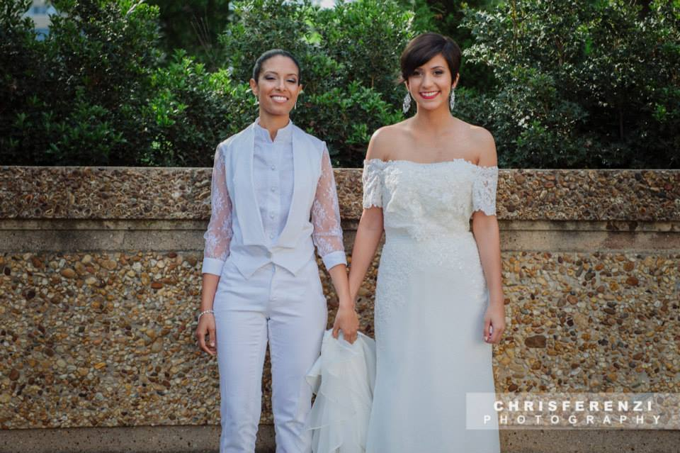 modern same sex lesbian bride white suit style gown (8)