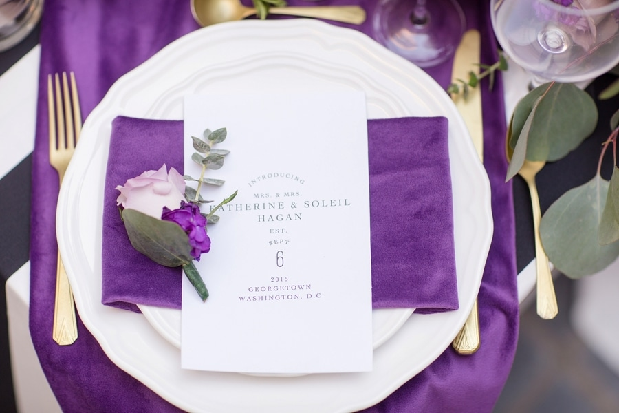 intimate DC elopement romantic purple wedding details decorations (17)