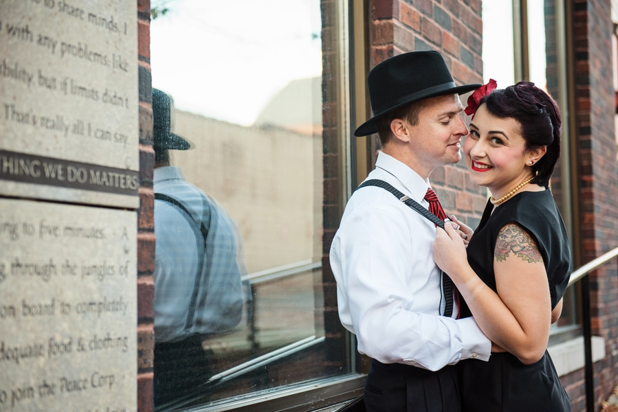 pin up 1950s inspired maryland record store engagement pictures (1)