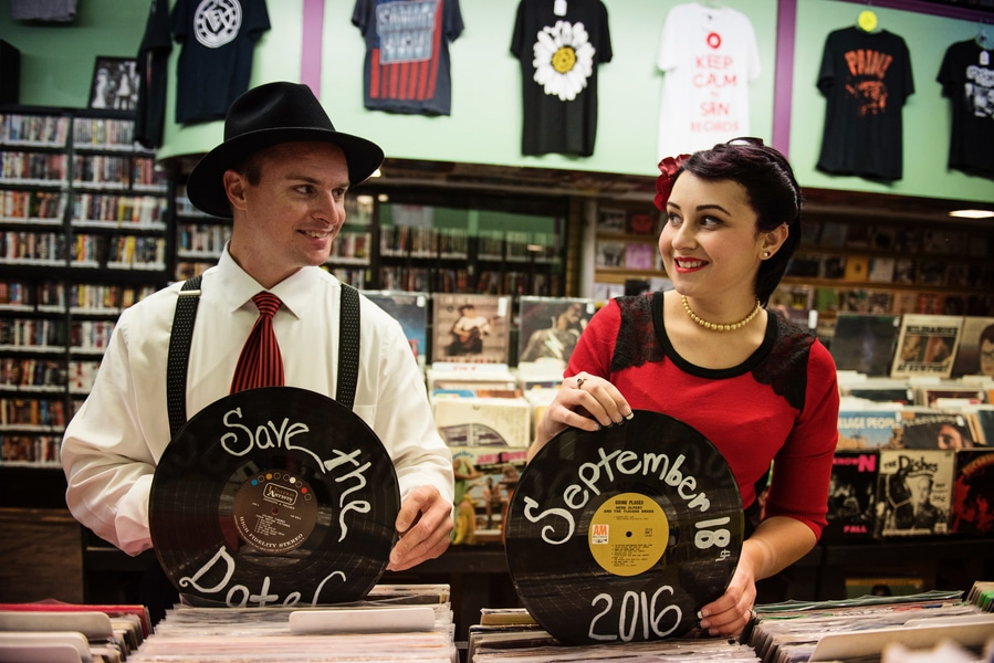 pin up 1950s inspired maryland record store engagement pictures (6)